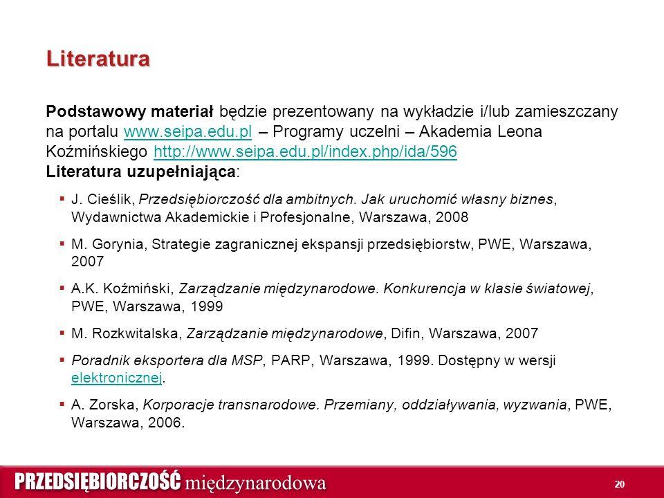 20 Literatura Podstawowy materiał będzie prezentowany na wykładzie i/lub zamieszczany na portalu www.seipa.edu.pl – Programy uczelni – Akademia Leona Koźmińskiego http://www.seipa.edu.pl/index.php/ida/596 Literatura uzupełniająca:www.seipa.edu.plhttp://www.seipa.edu.pl/index.php/ida/596  J.