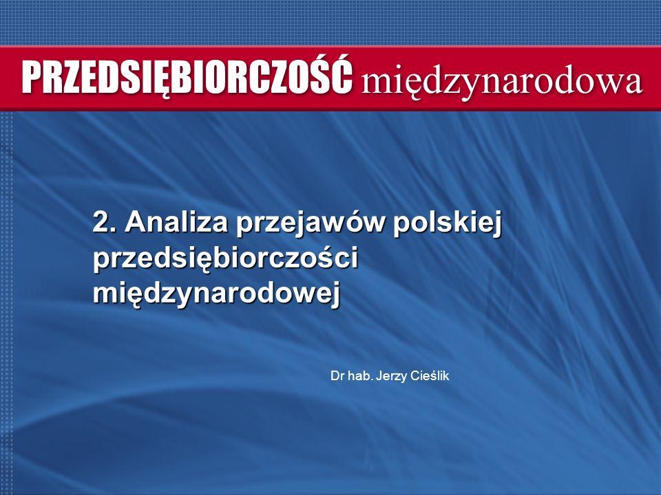 2. Analiza przejawów polskiej przedsiębiorczości międzynarodowej Dr hab. Jerzy Cieślik