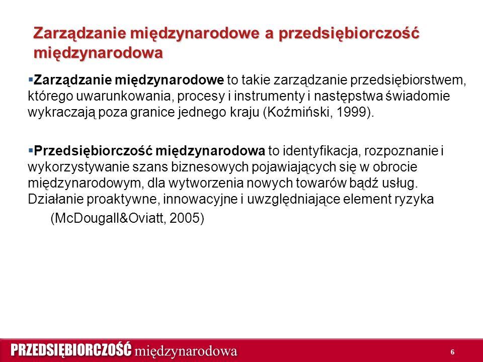 6 Zarządzanie międzynarodowe a przedsiębiorczość międzynarodowa  Zarządzanie międzynarodowe to takie zarządzanie przedsiębiorstwem, którego uwarunkowania, procesy i instrumenty i następstwa świadomie wykraczają poza granice jednego kraju (Koźmiński, 1999).