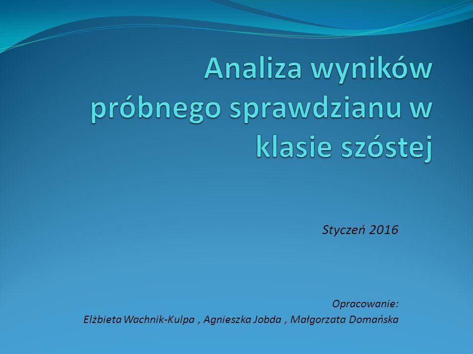 Styczeń 2016 Opracowanie: Elżbieta Wachnik-Kulpa, Agnieszka Jobda, Małgorzata Domańska