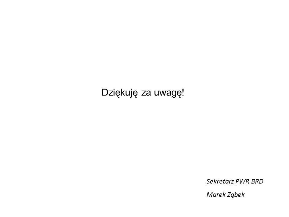 Dziękuję za uwagę! Sekretarz PWR BRD Marek Ząbek
