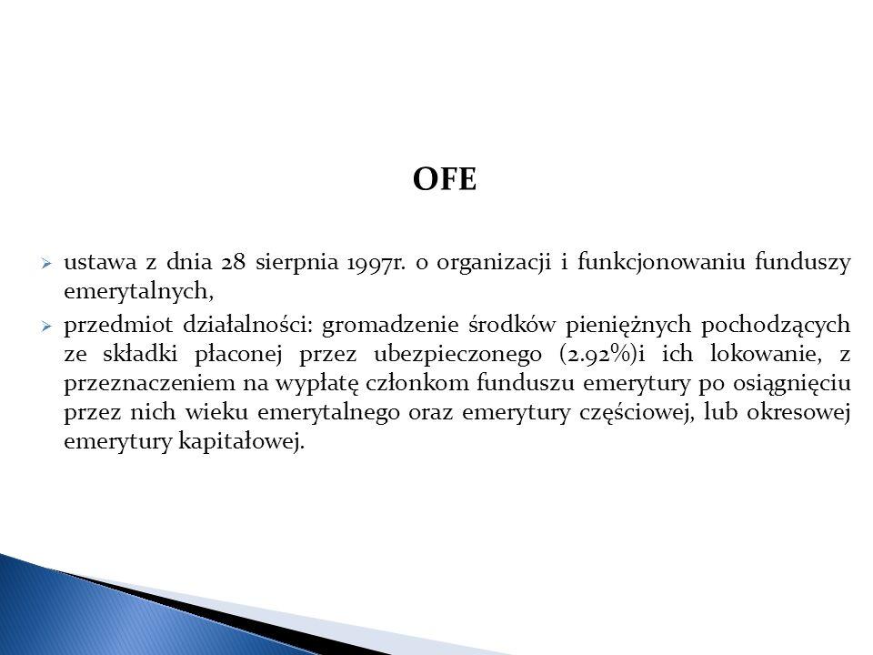 OFE  ustawa z dnia 28 sierpnia 1997r. o organizacji i funkcjonowaniu funduszy emerytalnych,  przedmiot działalności: gromadzenie środków pieniężnych