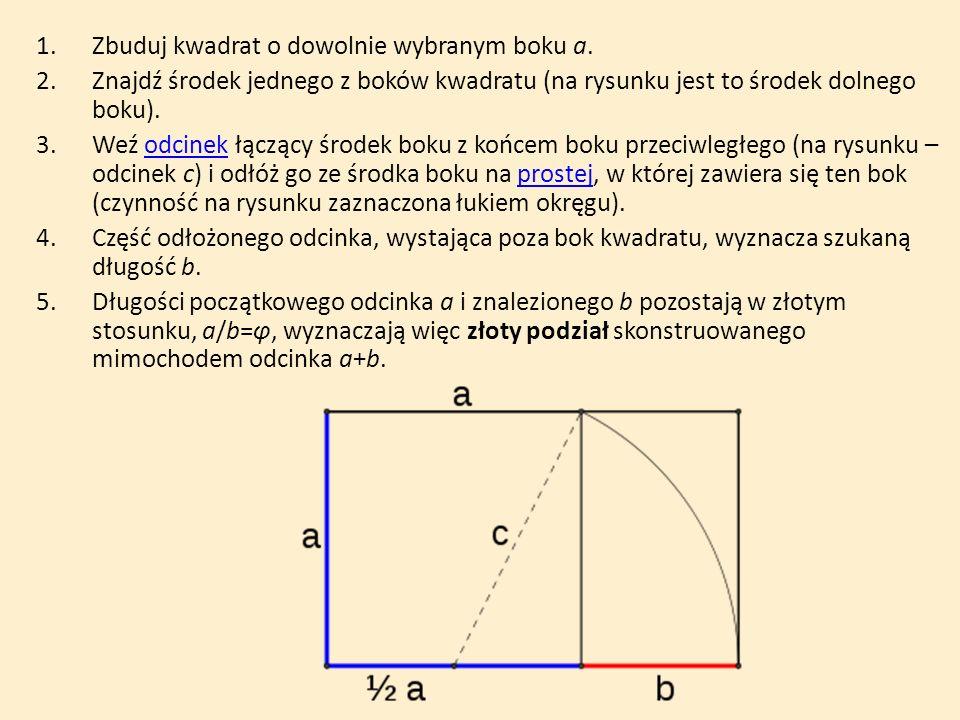 1.Zbuduj kwadrat o dowolnie wybranym boku a. 2.Znajdź środek jednego z boków kwadratu (na rysunku jest to środek dolnego boku). 3.Weź odcinek łączący