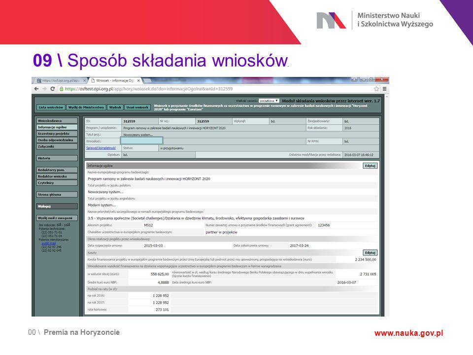 00 \ Premia na Horyzoncie www.nauka.gov.pl 09 \ Sposób składania wniosków.