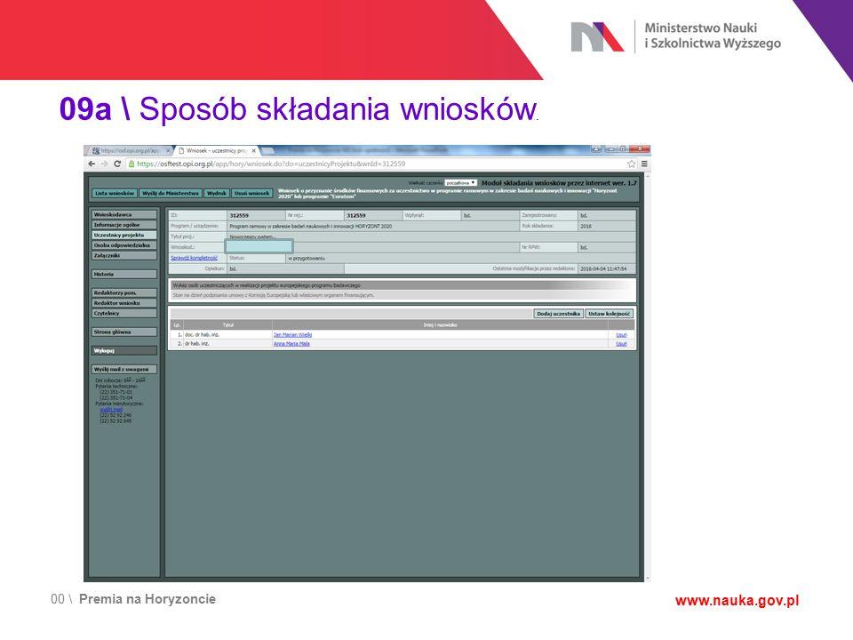 00 \ Premia na Horyzoncie www.nauka.gov.pl 09a \ Sposób składania wniosków.