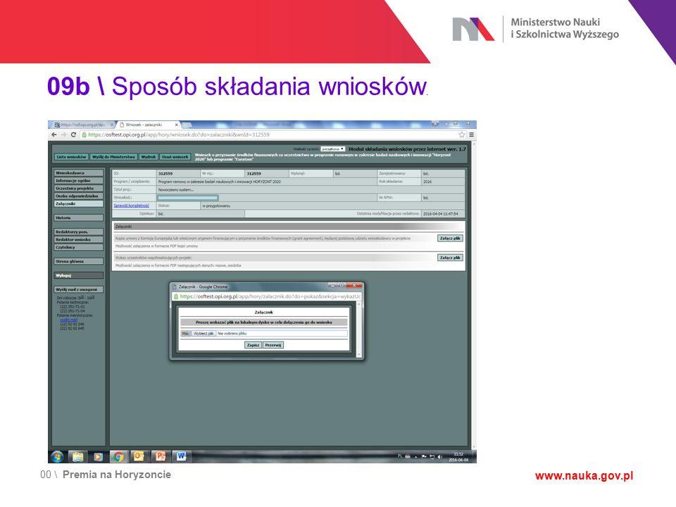 00 \ Premia na Horyzoncie www.nauka.gov.pl 09b \ Sposób składania wniosków.