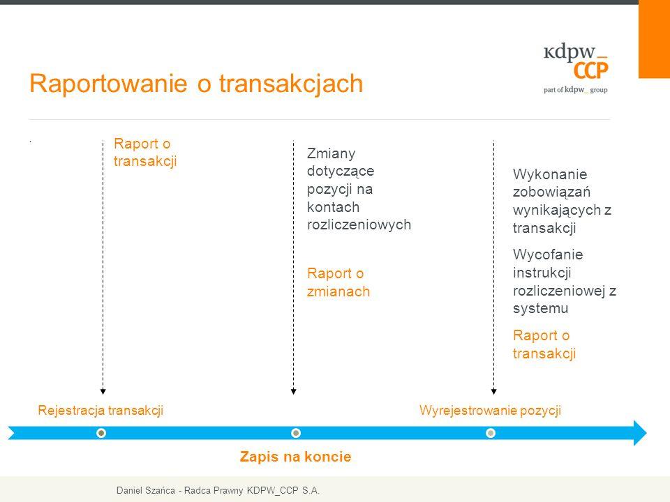 . Raportowanie o transakcjach Raport o transakcji Zmiany dotyczące pozycji na kontach rozliczeniowych Raport o zmianach Wykonanie zobowiązań wynikając