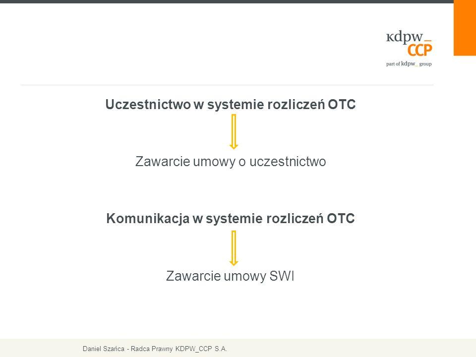 Uczestnictwo w systemie rozliczeń OTC Zawarcie umowy o uczestnictwo Komunikacja w systemie rozliczeń OTC Zawarcie umowy SWI Daniel Szańca - Radca Praw