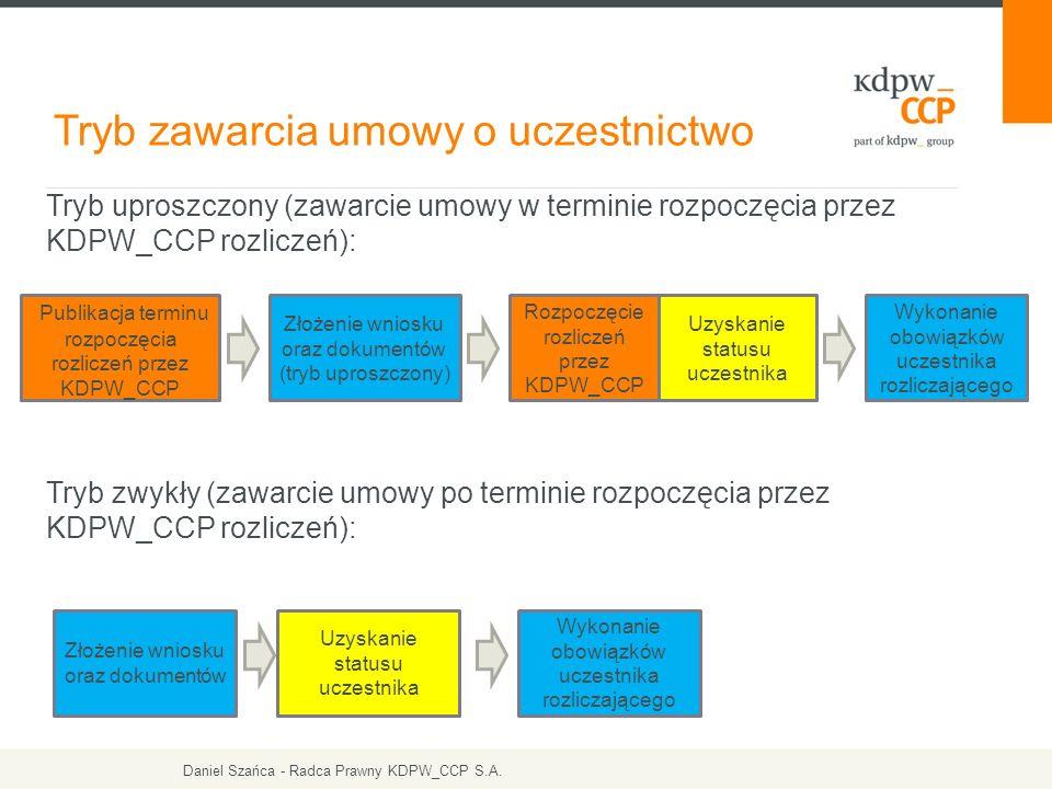 Tryb uproszczony (zawarcie umowy w terminie rozpoczęcia przez KDPW_CCP rozliczeń): Tryb zwykły (zawarcie umowy po terminie rozpoczęcia przez KDPW_CCP rozliczeń): Tryb zawarcia umowy o uczestnictwo Publikacja terminu rozpoczęcia rozliczeń przez KDPW_CCP Złożenie wniosku oraz dokumentów (tryb uproszczony) Rozpoczęcie rozliczeń przez KDPW_CCP Uzyskanie statusu uczestnika Złożenie wniosku oraz dokumentów Uzyskanie statusu uczestnika Wykonanie obowiązków uczestnika rozliczającego Daniel Szańca - Radca Prawny KDPW_CCP S.A.