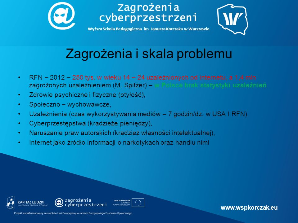www.wspkorczak.eu Wyższa Szkoła Pedagogiczna im.Janusza Korczaka w Warszawie Zagrożenia – c.d.
