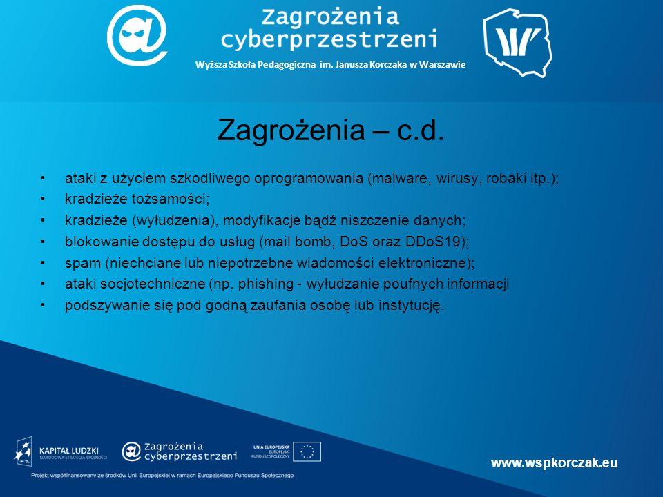 www.wspkorczak.eu Wyższa Szkoła Pedagogiczna im. Janusza Korczaka w Warszawie Zagrożenia – c.d.