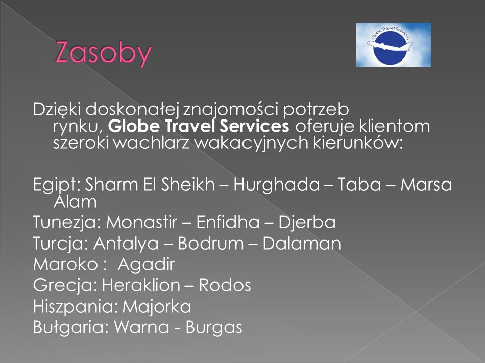 Dzięki doskonałej znajomości potrzeb rynku, Globe Travel Services oferuje klientom szeroki wachlarz wakacyjnych kierunków: Egipt: Sharm El Sheikh – Hurghada – Taba – Marsa Alam Tunezja: Monastir – Enfidha – Djerba Turcja: Antalya – Bodrum – Dalaman Maroko : Agadir Grecja: Heraklion – Rodos Hiszpania: Majorka Bułgaria: Warna - Burgas