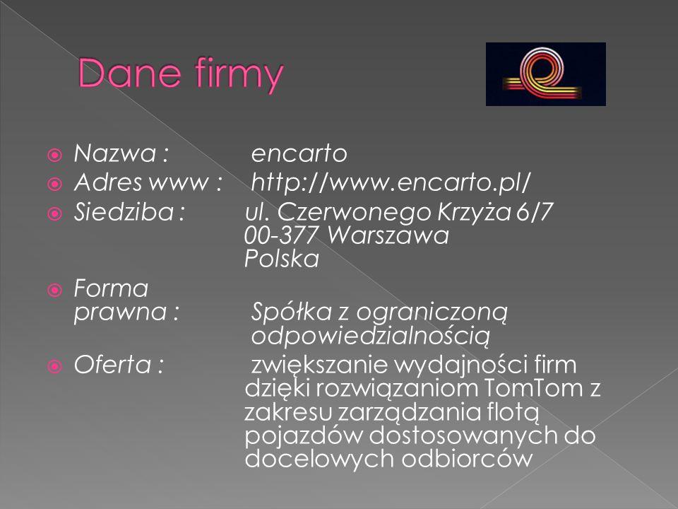  Nazwa : encarto  Adres www : http://www.encarto.pl/  Siedziba :ul. Czerwonego Krzyża 6/7 00-377 Warszawa Polska  Forma prawna : Spółka z ogranicz
