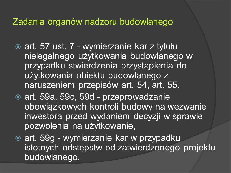 Zadania organów nadzoru budowlanego  art. 57 ust.