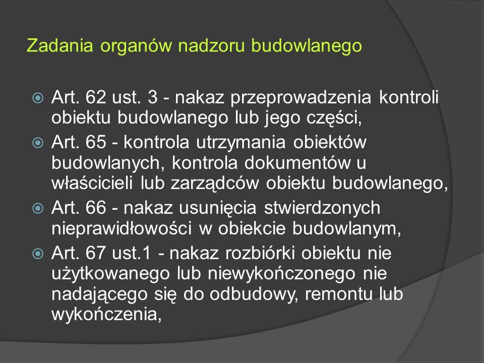 Zadania organów nadzoru budowlanego  Art. 62 ust.