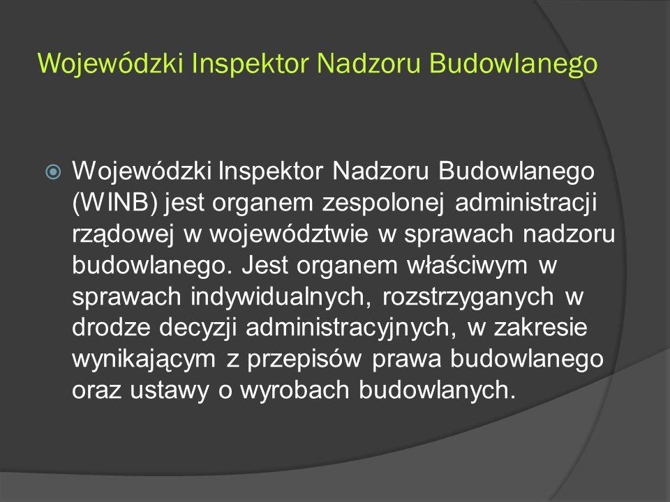 Wojewódzki Inspektor Nadzoru Budowlanego  Wojewódzki Inspektor Nadzoru Budowlanego (WINB) jest organem zespolonej administracji rządowej w województwie w sprawach nadzoru budowlanego.
