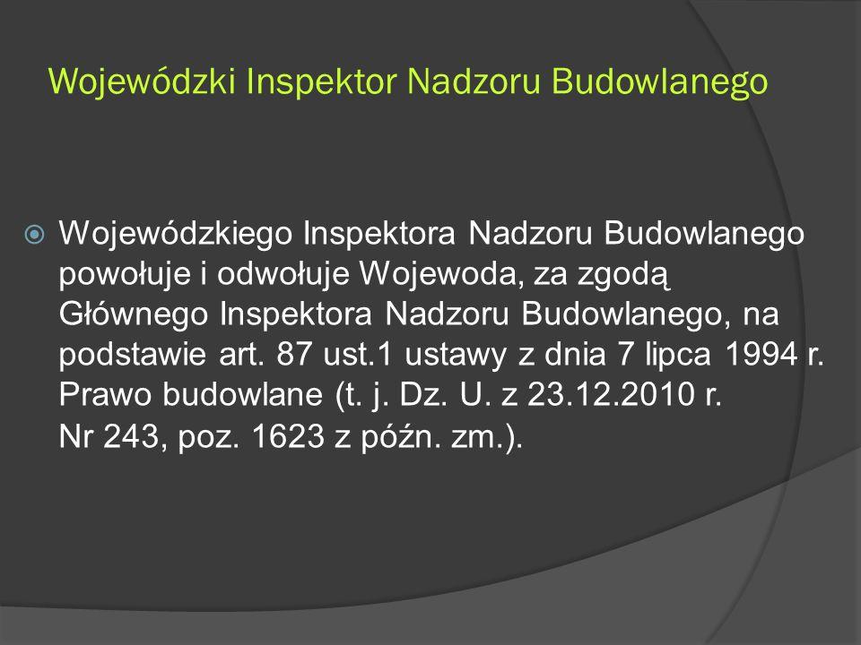 Wojewódzki Inspektor Nadzoru Budowlanego  Wojewódzkiego Inspektora Nadzoru Budowlanego powołuje i odwołuje Wojewoda, za zgodą Głównego Inspektora Nadzoru Budowlanego, na podstawie art.