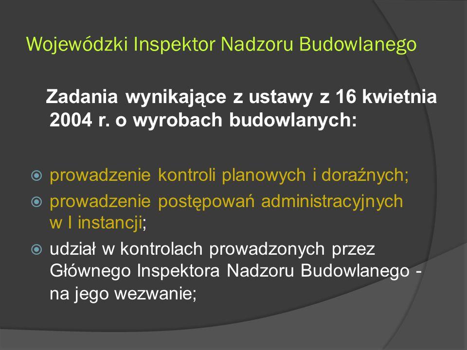 Wojewódzki Inspektor Nadzoru Budowlanego Zadania wynikające z ustawy z 16 kwietnia 2004 r.