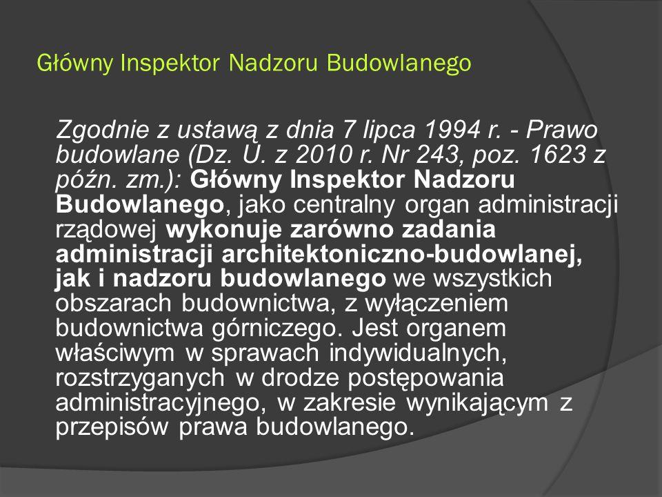 Główny Inspektor Nadzoru Budowlanego Zgodnie z ustawą z dnia 7 lipca 1994 r.