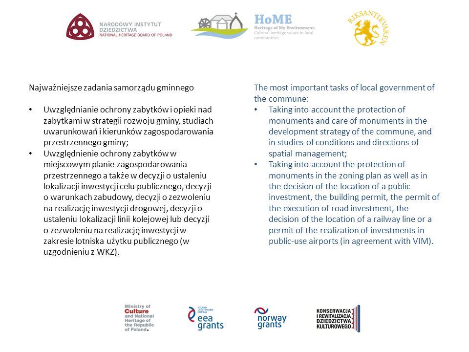 Najważniejsze zadania samorządu gminnego Uwzględnianie ochrony zabytków i opieki nad zabytkami w strategii rozwoju gminy, studiach uwarunkowań i kieru