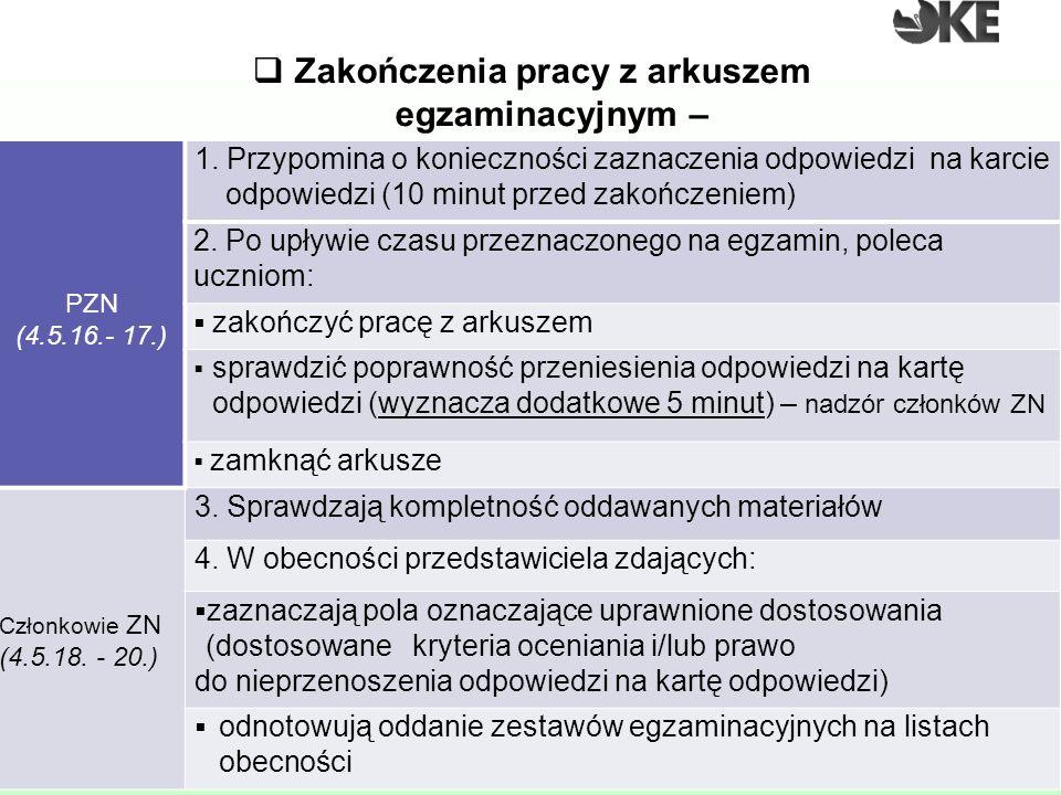  Zakończenia pracy z arkuszem egzaminacyjnym – gimnazjum PZN (4.5.16.- 17.) 1. Przypomina o konieczności zaznaczenia odpowiedzi na karcie odpowiedzi