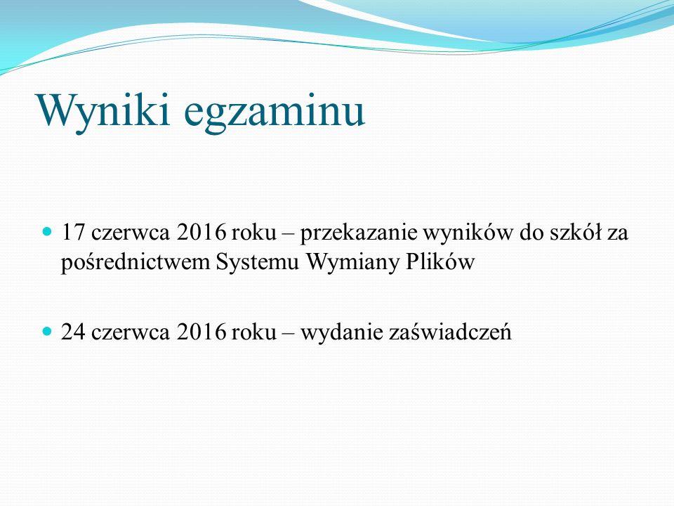 Wyniki egzaminu 17 czerwca 2016 roku – przekazanie wyników do szkół za pośrednictwem Systemu Wymiany Plików 24 czerwca 2016 roku – wydanie zaświadczeń