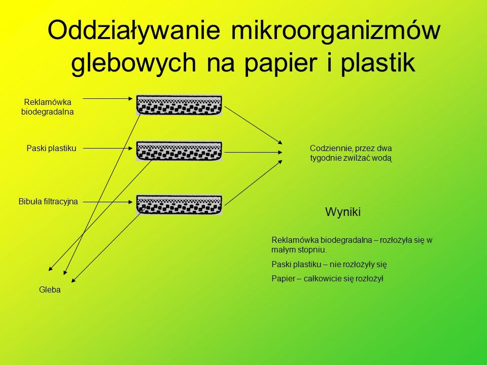 Oddziaływanie mikroorganizmów glebowych na papier i plastik Gleba Paski plastiku Bibuła filtracyjna Reklamówka biodegradalna Codziennie, przez dwa tygodnie zwilżać wodą Wyniki Reklamówka biodegradalna – rozłożyła się w małym stopniu.