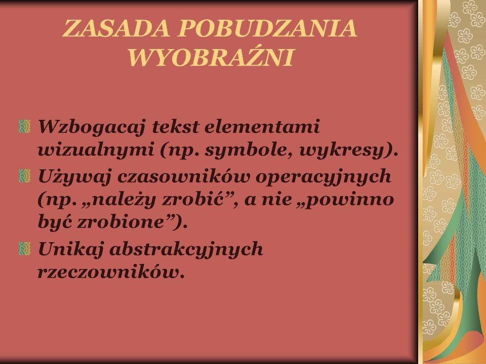ZASADA POBUDZANIA WYOBRAŹNI Wzbogacaj tekst elementami wizualnymi (np.