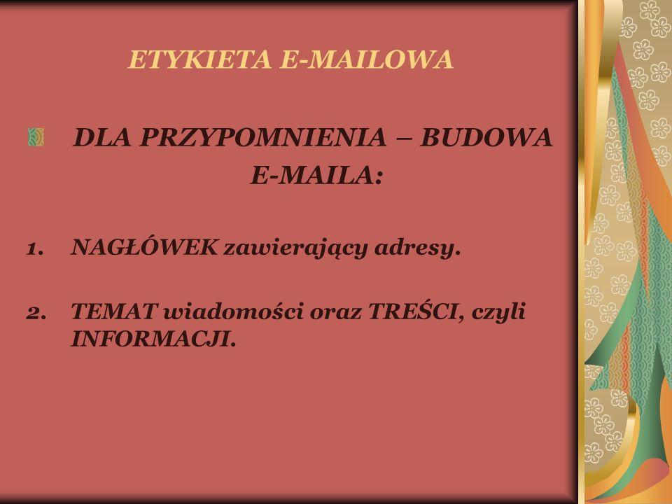 ETYKIETA E-MAILOWA DLA PRZYPOMNIENIA – BUDOWA E-MAILA: 1.NAGŁÓWEK zawierający adresy.