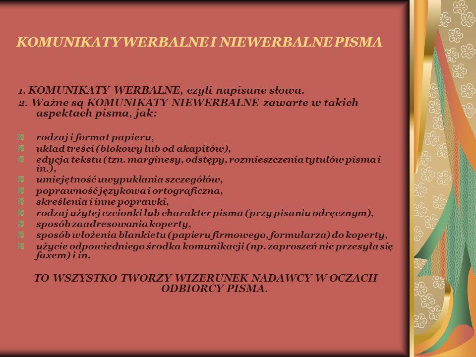 KOMUNIKATY WERBALNE I NIEWERBALNE PISMA 1. KOMUNIKATY WERBALNE, czyli napisane słowa.