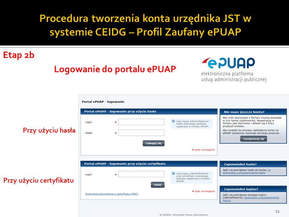 Etap 2b Przy użyciu hasła Przy użyciu certyfikatu Logowanie do portalu ePUAP 11