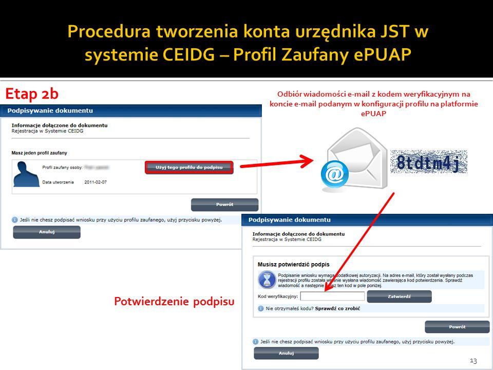 Odbiór wiadomości e-mail z kodem weryfikacyjnym na koncie e-mail podanym w konfiguracji profilu na platformie ePUAP Potwierdzenie podpisu 13 Etap 2b