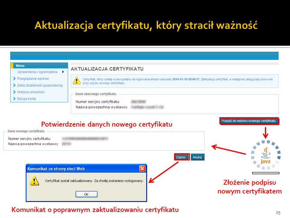 25 Złożenie podpisu nowym certyfikatem Potwierdzenie danych nowego certyfikatu Komunikat o poprawnym zaktualizowaniu certyfikatu