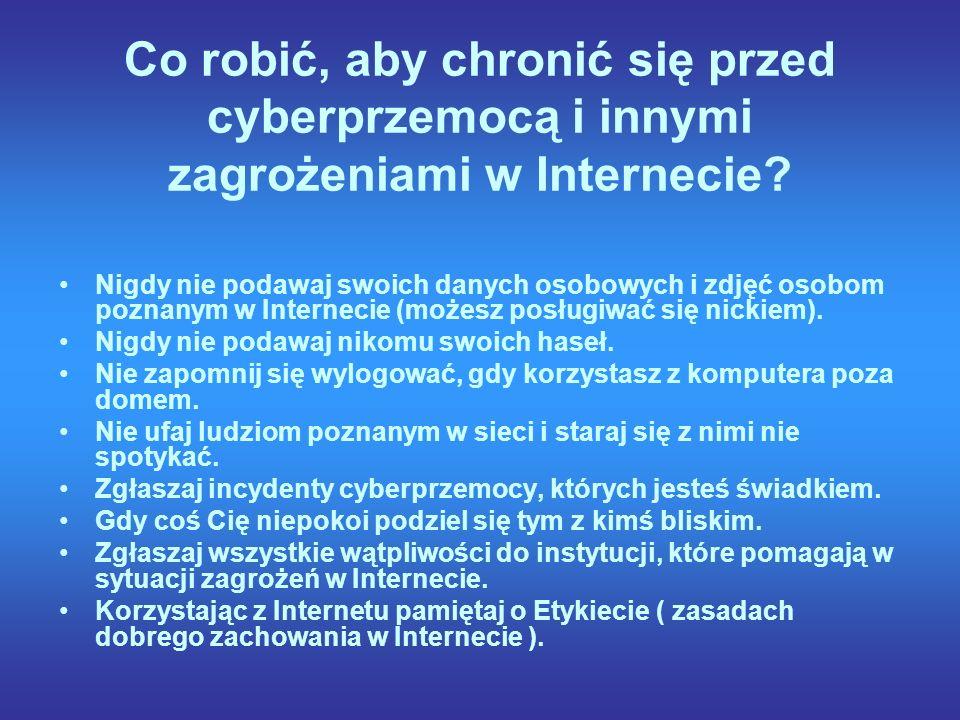 Co robić, aby chronić się przed cyberprzemocą i innymi zagrożeniami w Internecie.