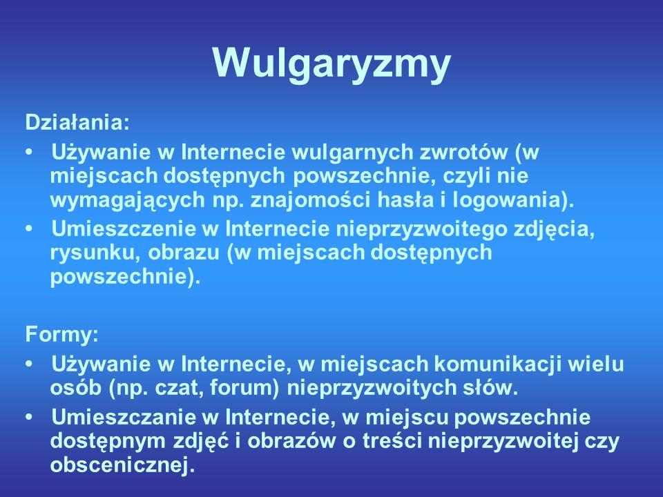 Wulgaryzmy Działania: Używanie w Internecie wulgarnych zwrotów (w miejscach dostępnych powszechnie, czyli nie wymagających np.