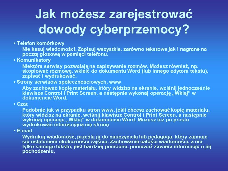 Jak możesz zarejestrować dowody cyberprzemocy.Telefon komórkowy Nie kasuj wiadomości.