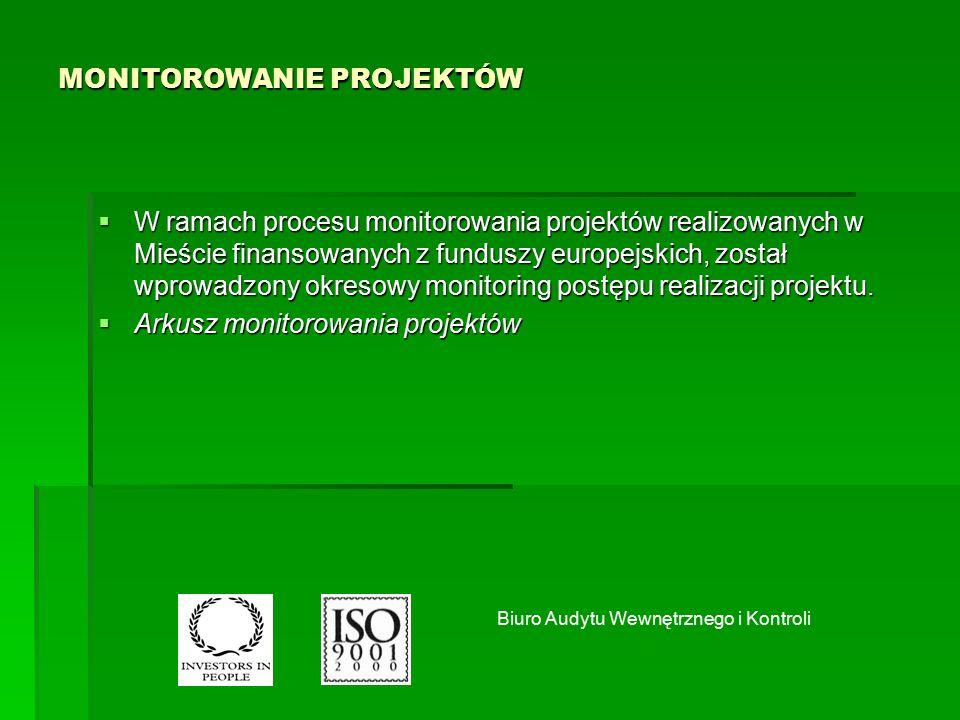 MONITOROWANIE PROJEKTÓW  W ramach procesu monitorowania projektów realizowanych w Mieście finansowanych z funduszy europejskich, został wprowadzony okresowy monitoring postępu realizacji projektu.