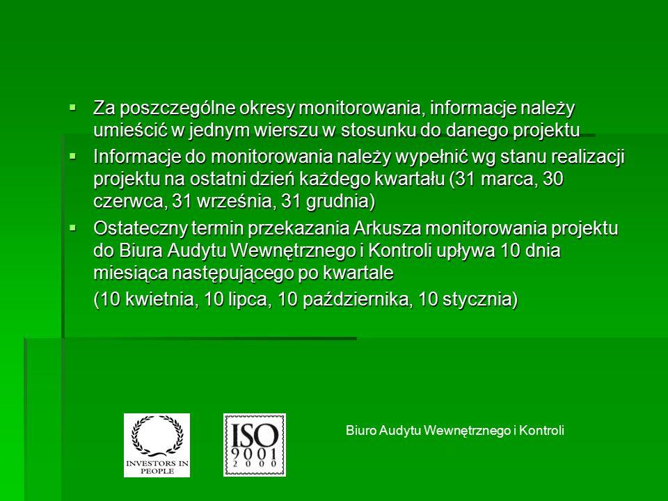  Za poszczególne okresy monitorowania, informacje należy umieścić w jednym wierszu w stosunku do danego projektu  Informacje do monitorowania należy