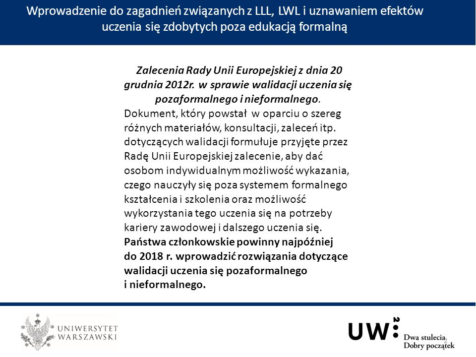 Wprowadzenie do zagadnień związanych z LLL, LWL i uznawaniem efektów uczenia się zdobytych poza edukacją formalną 2 Zalecenia Rady Unii Europejskiej z dnia 20 grudnia 2012r.