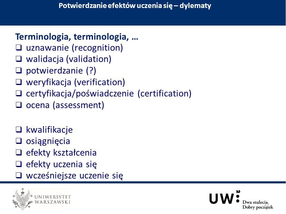 Terminologia, terminologia, …  uznawanie (recognition)  walidacja (validation)  potwierdzanie ( )  weryfikacja (verification)  certyfikacja/poświadczenie (certification)  ocena (assessment)  kwalifikacje  osiągnięcia  efekty kształcenia  efekty uczenia się  wcześniejsze uczenie się Potwierdzanie efektów uczenia się – dylematy 23