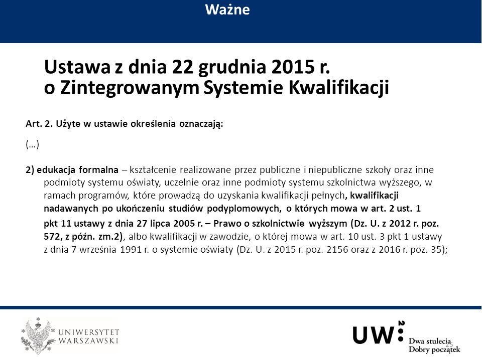Ustawa z dnia 22 grudnia 2015 r. o Zintegrowanym Systemie Kwalifikacji Art.
