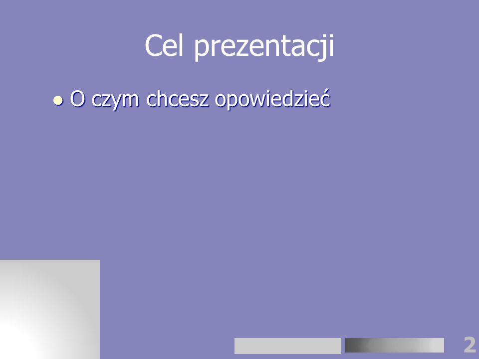 3 Teraz czas na plan prezentacji ……. …….