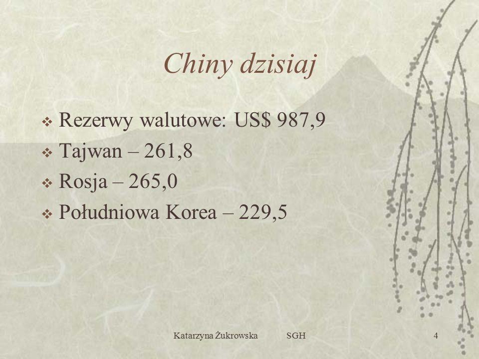 Katarzyna Żukrowska SGH4 Chiny dzisiaj  Rezerwy walutowe: US$ 987,9  Tajwan – 261,8  Rosja – 265,0  Południowa Korea – 229,5