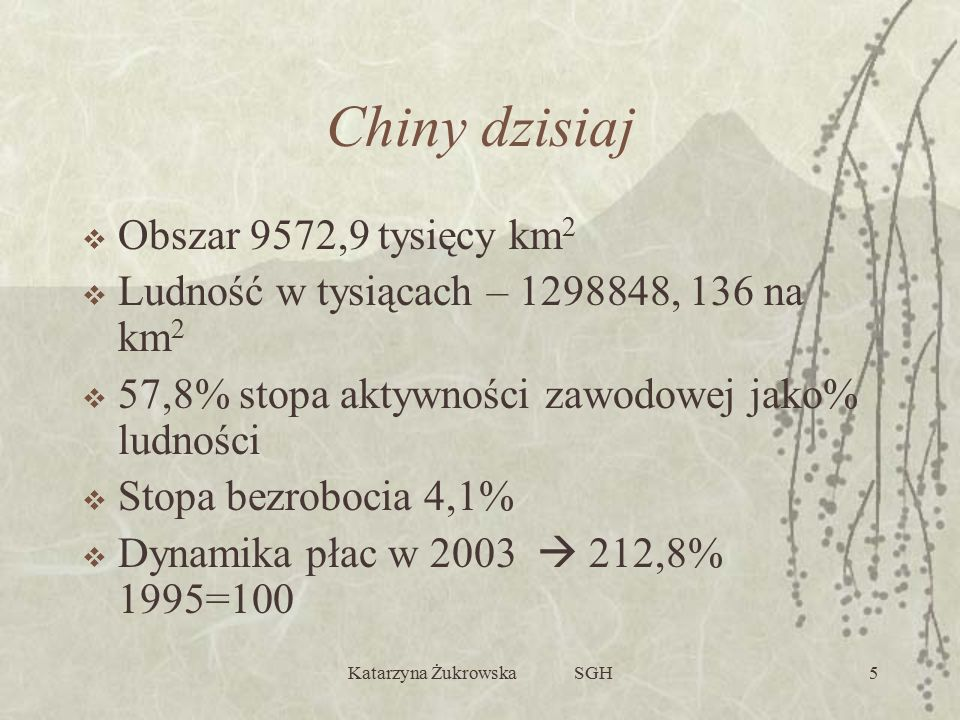Katarzyna Żukrowska SGH5 Chiny dzisiaj  Obszar 9572,9 tysięcy km 2  Ludność w tysiącach – 1298848, 136 na km 2  57,8% stopa aktywności zawodowej jako% ludności  Stopa bezrobocia 4,1%  Dynamika płac w 2003  212,8% 1995=100