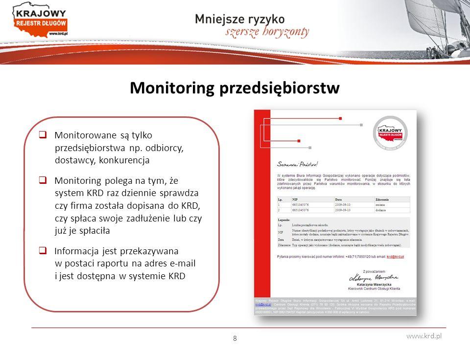 Monitoring przedsiębiorstw  Monitorowane są tylko przedsiębiorstwa np.