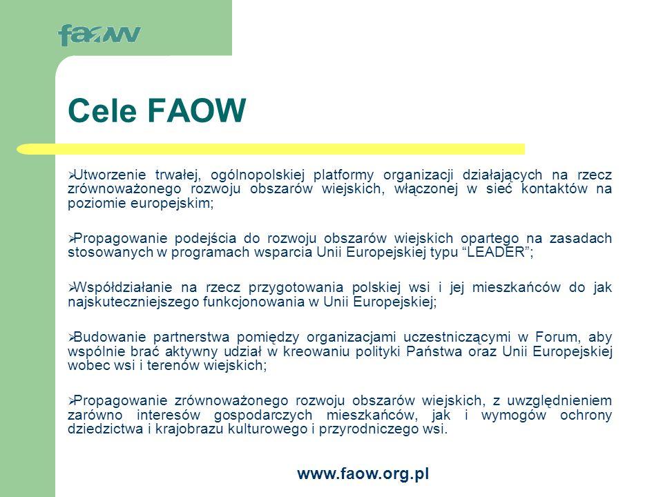 www.faow.org.pl Główne działania FAOW Działania na rzecz uruchomienia w Polsce inicjatywy wspólnotowej LEADER+ Szkolenie trenerów do kształcenia animatorów partnerstw lokalnych.