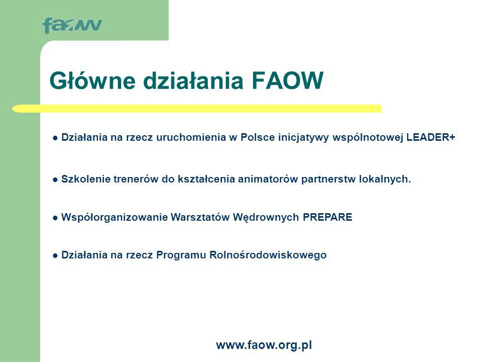 www.faow.org.pl FAOW a Program Agrolinia Funduszu Współpracy Planowane działania programu Agrolinia w 2004 roku w zakresie Przygotowania społeczności wiejskich do działań typu LEADER: Działania edukacyjne (szkolenia, seminaria, warsztaty) Wsparcie dla partnerstw lokalnych (tworzenie, budowanie zdolności działania, wymiana doświadczeń między grupami partnerskimi) Zbieranie, przetwarzanie i opracowywanie informacji o partnerstwach w Polsce (baza danych, analizy, opracowania) Upowszechnianie informacji o działaniach typu LEADER w Polsce i w Unii Europejskiej (w tym spotkania informacyjne) Publikacje, materiały informacyjne Inne działania (w tym prowadzenie Sekretariatu FAOW) Koszty organizacji i monitoringu działań