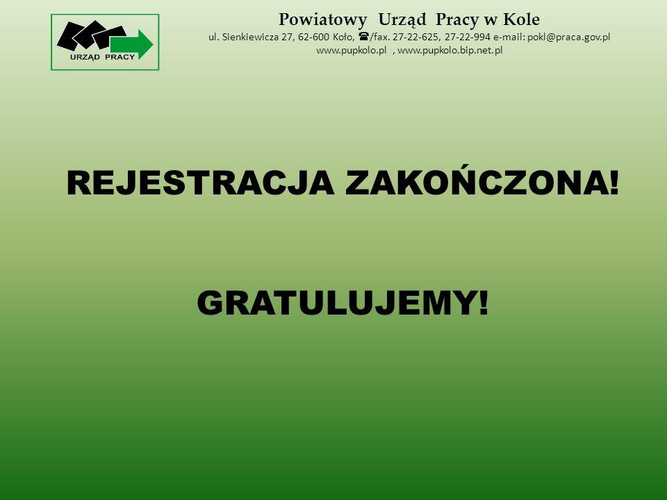 Powiatowy Urząd Pracy w Kole ul. Sienkiewicza 27, 62-600 Koło,  /fax.