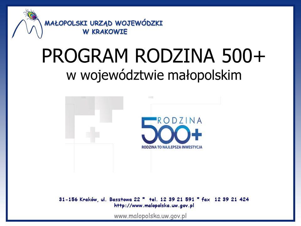 31-156 Kraków, ul. Basztowa 22 * tel. 12 39 21 591 * fax 12 39 21 424 http://www.malopolska.uw.gov.pl PROGRAM RODZINA 500+ w województwie małopolskim