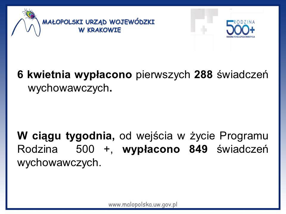 6 kwietnia wypłacono pierwszych 288 świadczeń wychowawczych.